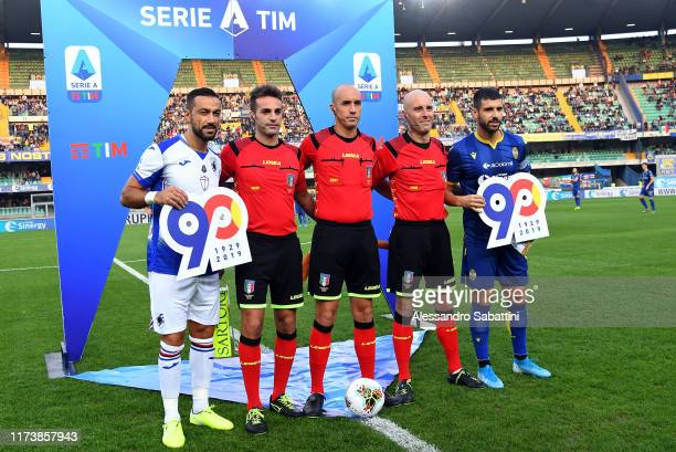 Fabio Quagliarella of UC Sampdoria and Miguel Veloso of Hellas Veronaduring the Serie A match between Hellas Verona and UC Sampdoria at Stadio...