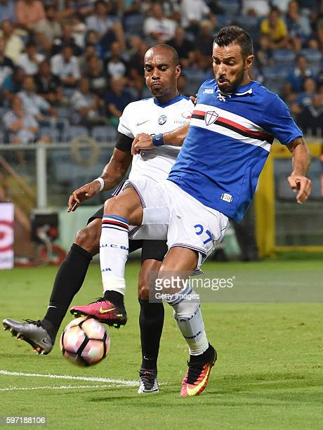 Fabio Quagliarella of UC Sampdoria battles for the ball with Abdoulay Konko of Atalanta BC during the Serie A match between UC Sampdoria and Atalanta...