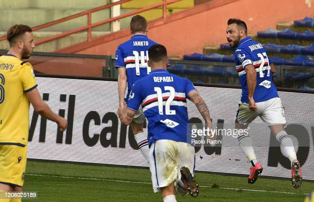 Fabio Quagliarella of UC Sampdoria celebrates after score penalty 21 during the Serie A match between UC Sampdoria and Hellas Verona at Stadio Luigi...