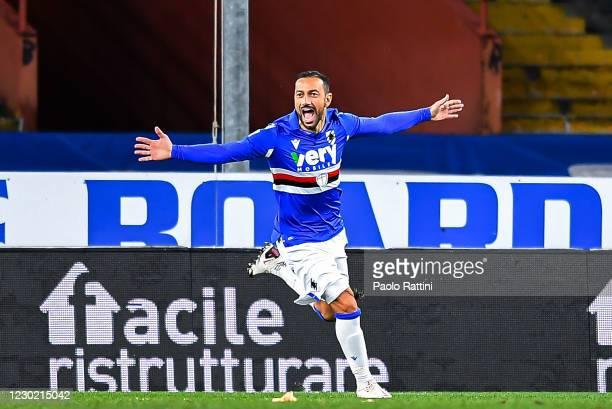 Fabio Quagliarella of UC Sampdoria celebrates after scoring 3-1 during the Serie A match between UC Sampdoria and FC Crotone at Stadio Luigi Ferraris...