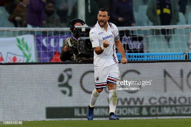 Fabio Quagliarella of UC Sampdoria celebrates after scoring a goa during the Serie A match between ACF Fiorentina and UC Sampdoria at Stadio Artemio...