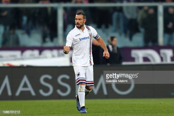 Fabio Quagliarella of UC Sampdoria celebrates after scoring a goal during the Serie A match between ACF Fiorentina and UC Sampdoria at Stadio Artemio...