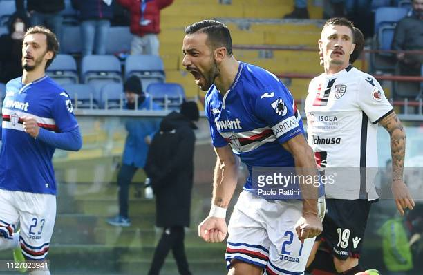Fabio Quagliarella of UC Sampdoria celebrates after scoring penalty during the Serie A match between UC Sampdoria and Cagliari at Stadio Luigi...
