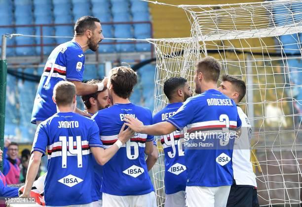 Fabio Quagliarella of UC Sampdoria celebrates after scoring penalty during the Serie A match between UC Sampdoria and Cagliari at Stadio Luigi...