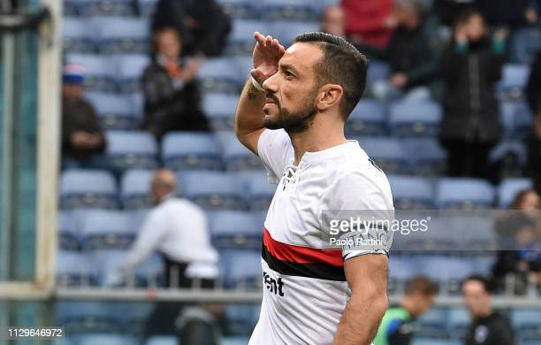 Fabio Quagliarella of UC Sampdoria celebrates after scoring penalty 11 during the Serie A match between UC Sampdoria and Atalanta BC at Stadio Luigi...