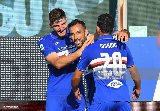 Fabio Quagliarella of UC Sampdoria celebrates after scoring the 2nd and equalizing goal during the Serie A match between Parma Calcio and UC...