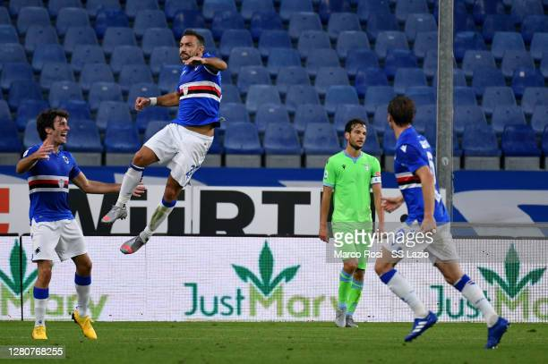 Fabio Quagliarella of UC Sampdoria celebrates after scoring the opening goal during the Serie A match between UC Sampdoria and SS Lazio at Stadio...