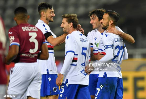 Fabio Quagliarella of U.C. Sampdoria celebrates after scoring their team's second goal with his team during the Serie A match between Torino FC and...