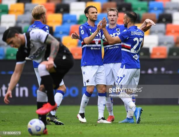 Fabio Quagliarella of U.C. Sampdoria celebrates after scoring their team's first goal with Albin Ekdal and Jakub Jankto during the Serie A match...