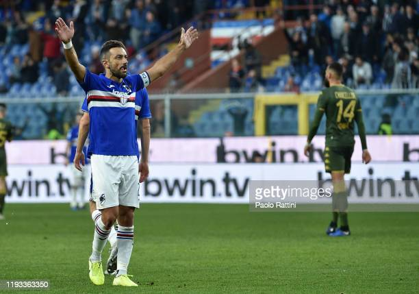 Fabio Quagliarella of UC Sampdoria celebrates after the 51 goal during the Serie A match between UC Sampdoria and Brescia Calcio at Stadio Luigi...
