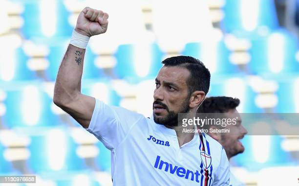 Fabio Quagliarella of UC Sampdoria celebrates during the Serie A match between US Sassuolo and UC Sampdoria at Mapei Stadium Citta' del Tricolore on...
