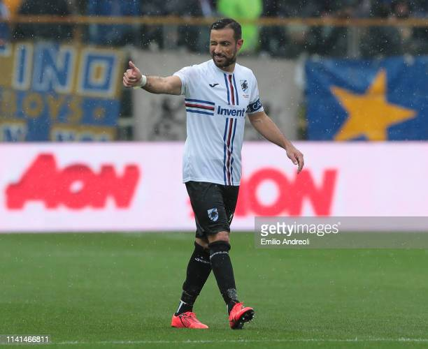 Fabio Quagliarella of UC Sampdoria celebrates his goal during the Serie A match between Parma Calcio and UC Sampdoria at Stadio Ennio Tardini on May...