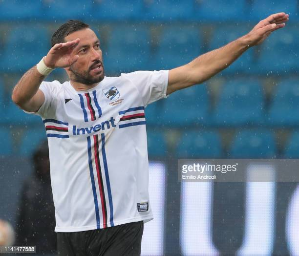 Fabio Quagliarella of UC Sampdoria celebrates his second goal during the Serie A match between Parma Calcio and UC Sampdoria at Stadio Ennio Tardini...