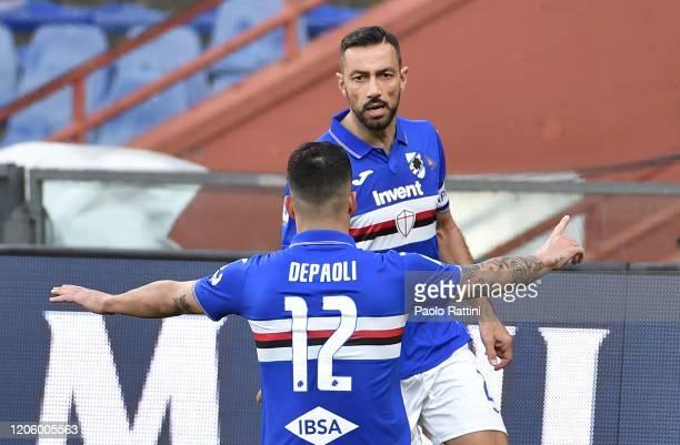 Fabio Quagliarella of UC Sampdoria celebrates with Fabio Depaoli during the Serie A match between UC Sampdoria and Hellas Verona at Stadio Luigi...