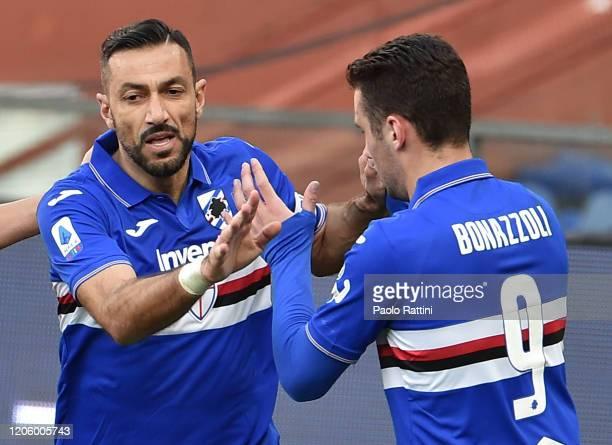 Fabio Quagliarella of UC Sampdoria celebrates with Federico Bonazzoli during the Serie A match between UC Sampdoria and Hellas Verona at Stadio Luigi...
