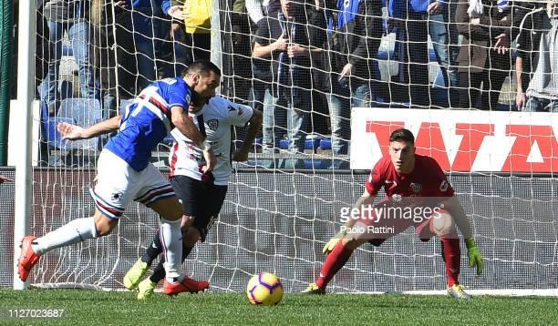 Fabio Quagliarella of UC Sampdoria chance of goal during the Serie A match between UC Sampdoria and Cagliari at Stadio Luigi Ferraris on February 24...