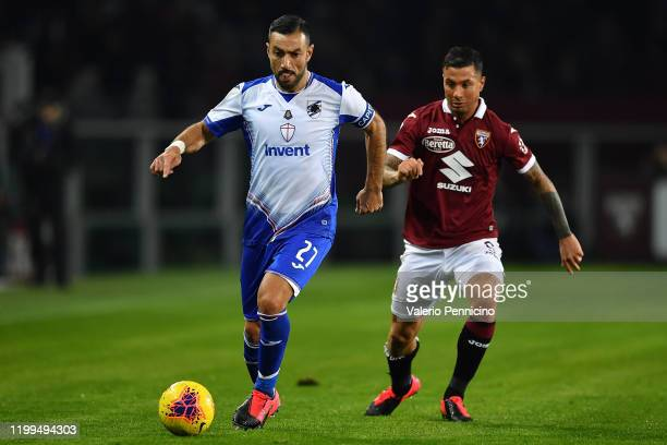 Fabio Quagliarella of UC Sampdoria fights for the ball with Fabio Quagliarella of UC Sampdoria during the Serie A match between Torino FC and UC...