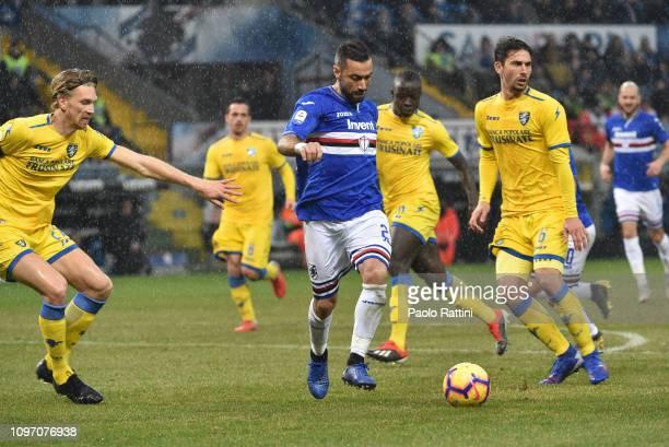 Fabio Quagliarella of UC Sampdoria in action during the Serie A match between UC Sampdoria and Frosinone Calcio at Stadio Luigi Ferraris on February...
