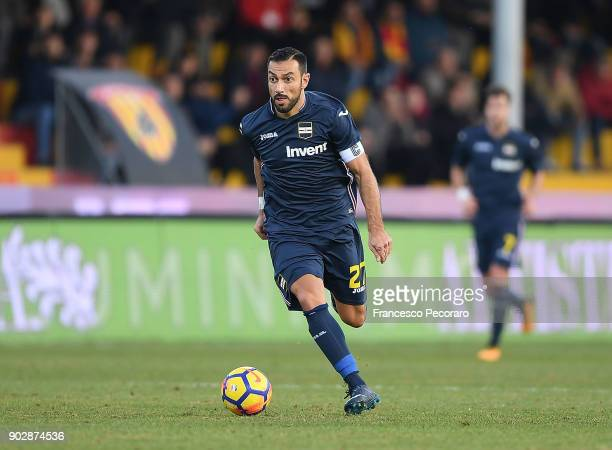 Fabio Quagliarella of UC Sampdoria in action during the serie A match between Benevento Calcio and UC Sampdoria at Stadio Ciro Vigorito on January 6...