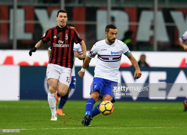 Fabio Quagliarella of UC Sampdoria in action during the serie A match between AC Milan and UC Sampdoria at Stadio Giuseppe Meazza on February 18 2018...