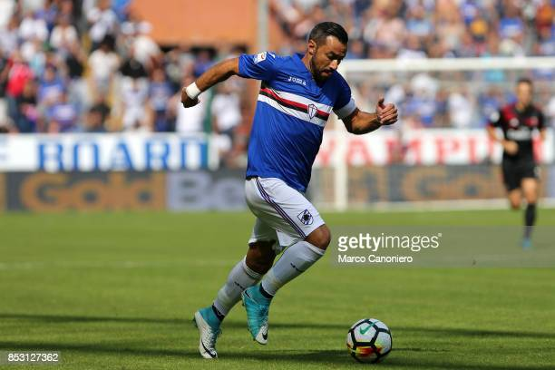 Fabio Quagliarella of UC Sampdoria in action during the Serie A football match between Us Sampdoria and Ac Milan Uc Sampdoria wins 20 over Ac Milan