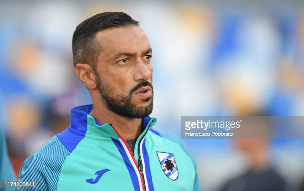 Fabio Quagliarella of UC Sampdoria in actionduring the Serie A match between SSC Napoli and UC Sampdoria at Stadio San Paolo on September 14, 2019 in...