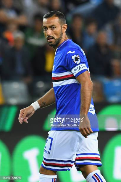 Fabio Quagliarella of UC Sampdoria looks on during the serie A match between Udinese and UC Sampdoria at Stadio Friuli on August 26 2018 in Udine...