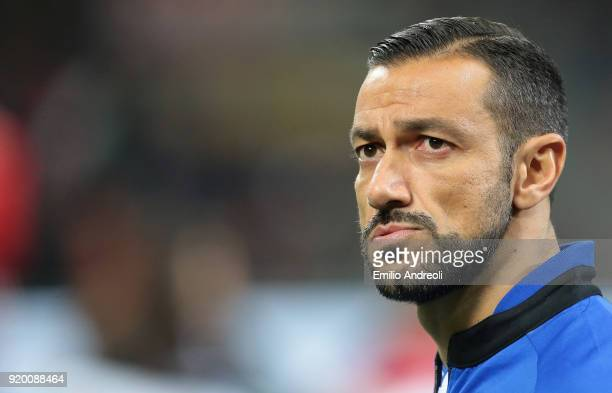 Fabio Quagliarella of UC Sampdoria looks on prior to the serie A match between AC Milan and UC Sampdoria at Stadio Giuseppe Meazza on February 18...