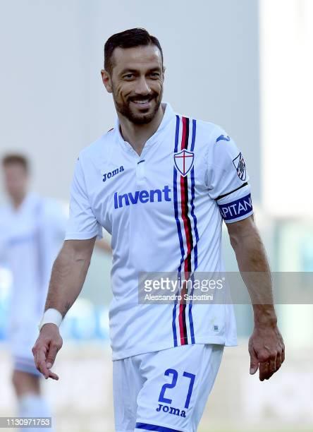 Fabio Quagliarella of UC Sampdoria reacts during the Serie A match between US Sassuolo and UC Sampdoria at Mapei Stadium Citta' del Tricolore on...