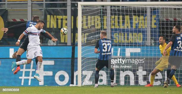 Fabio Quagliarella of UC Sampdoria scores his goal during the Serie A match between FC Internazionale and UC Sampdoria at Stadio Giuseppe Meazza on...