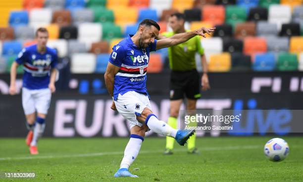 Fabio Quagliarella of U.C. Sampdoria scores their team's first goal from the penalty spot during the Serie A match between Udinese Calcio and UC...