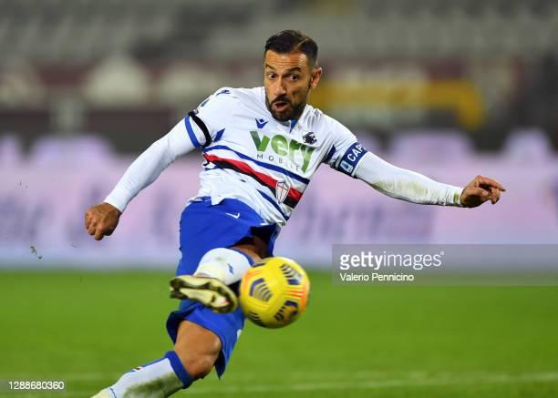 Fabio Quagliarella of U.C. Sampdoria scores their team's second goal during the Serie A match between Torino FC and UC Sampdoria at Stadio Olimpico...