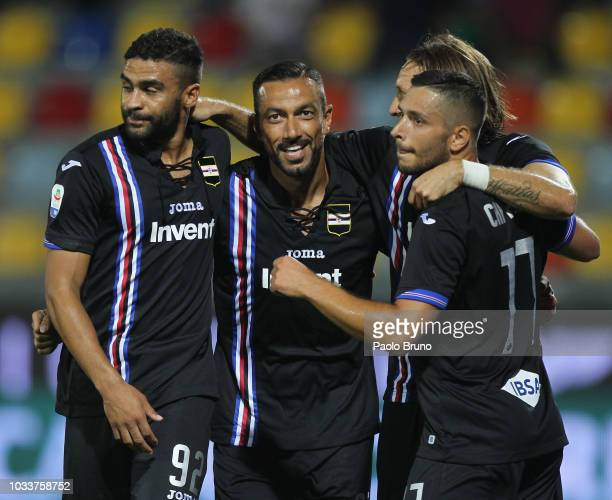 Fabio Quagliarella of UC Sampdoria with his teammates celebrates after scoring the opening goal during the serie A match between Frosinone Calcio and...