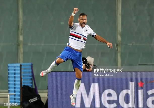Fabio Quagliarella of US Sampdoria celebrates after scoring a goal during the Serie A match between ACF Fiorentina and UC Sampdoria at Stadio Artemio...
