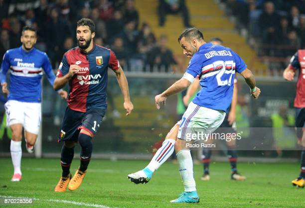 Fabio Quagliarella Sampdoria scores a goal 02 during the Serie A match between Genoa CFC and UC Sampdoria at Stadio Luigi Ferraris on November 4 2017...