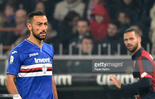 Fabio Quagliarella with red on his face as part of a campaign to tackle violence against women during the Serie A match between Genoa CFC and UC...