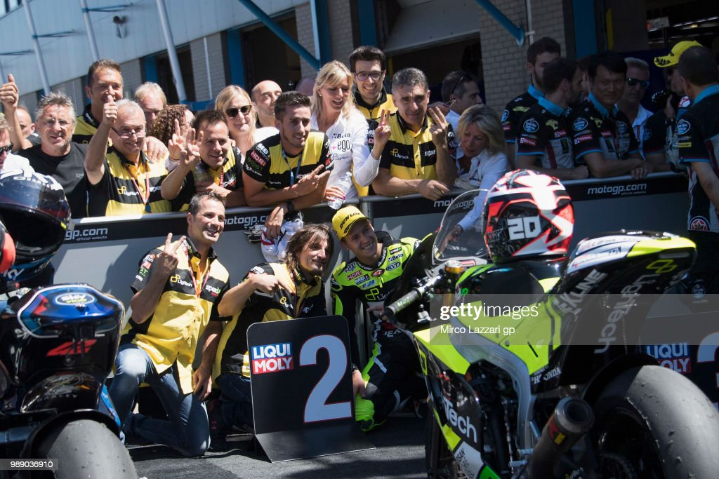 Fabio Quartararo of France and Beta Tools - Speed Up Racing celebrates the second place with team under the podium at the end of the Moto2 race during the MotoGP Netherlands - Race on July 1, 2018 in Assen, Netherlands.