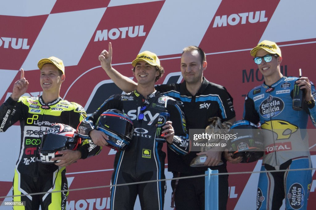 Fabio Quartararo of France and Beta Tools - Speed Up Racing, Francesco Bagnaia of Italy and Sky Racing Team VR46 and Alex Marquez of Spain and EG 0,0 Marc VDS celebrate on the podium at the end of the Moto2 race during the MotoGP Netherlands - Race on July 1, 2018 in Assen, Netherlands.