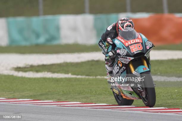 Fabio Quartararo of France and Beta Tools Speed Up Racing heads down a straight during the Moto2 qualifying practice during the MotoGP Of Malaysia...