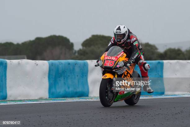 Fabio Quartararo of France and Beta Tools Speed Up Racing heads down a straight during the Moto2 Moto3 Tests In Jerez at Circuito de Jerez on March 8...