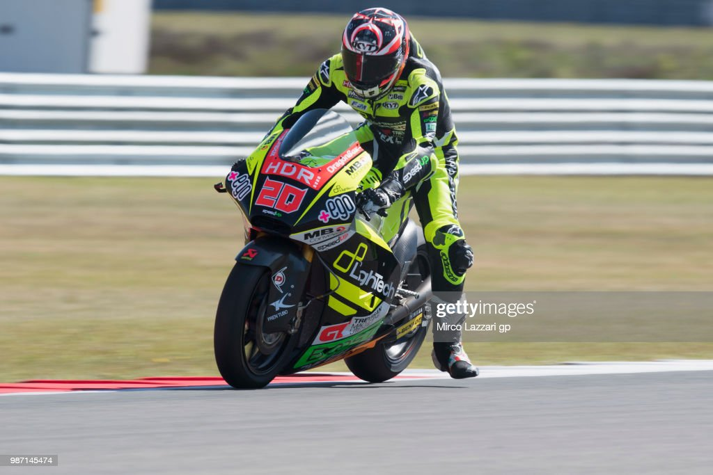 Fabio Quartararo of France and Beta Tools - Speed Up Racing heads down a straight during the MotoGP Netherlands - Free Practice on June 29, 2018 in Assen, Netherlands.