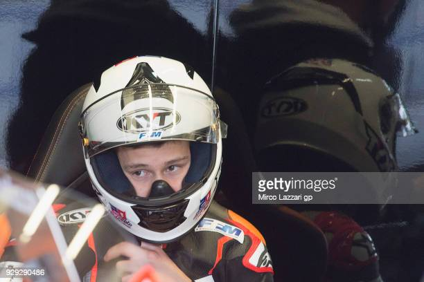 Fabio Quartararo of France and Beta Tools Speed Up Racing looks on in box during the Moto2 Moto3 Tests In Jerez at Circuito de Jerez on March 8 2018...