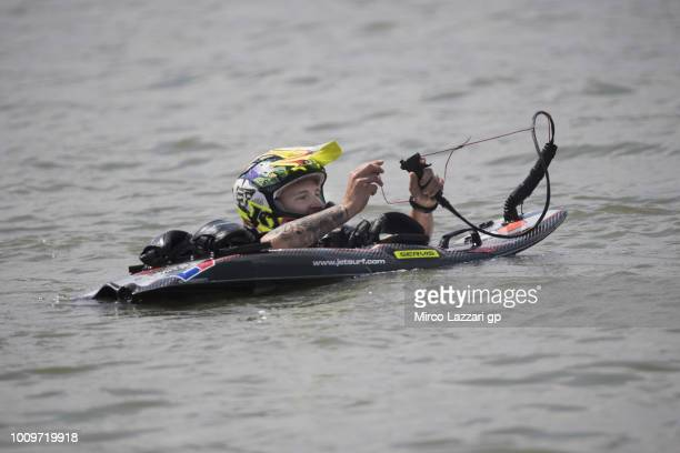 Fabio Quartararo of France and Beta Tools Speed Up Racing makes JetSurf during the preevent at Auspersky Lake during the MotoGp of Czech Republic...