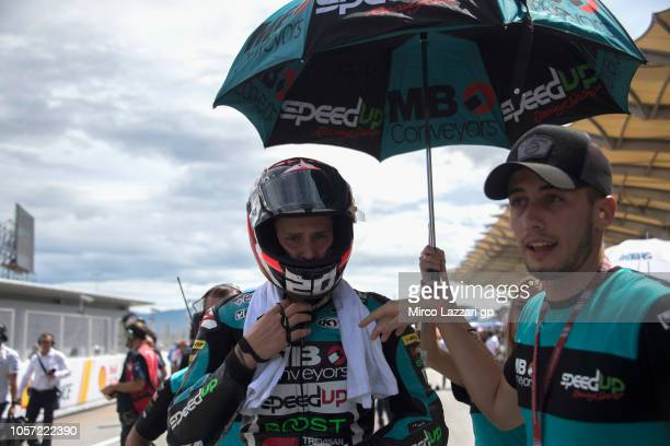 Fabio Quartararo of France and Beta Tools Speed Up Racing prepares to start on the grid during the Moto2 race during the MotoGP Of Malaysia Race at...