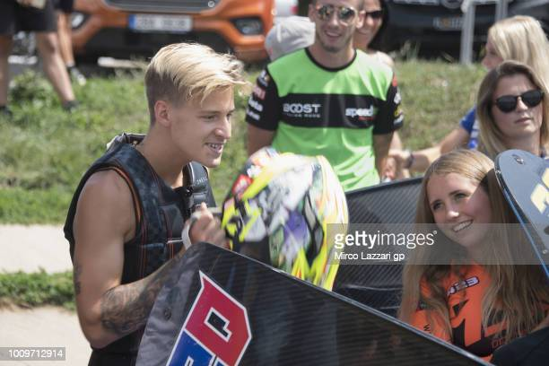 Fabio Quartararo of France and Beta Tools Speed Up Racing smiles during the preevent at Auspersky Lake during the MotoGp of Czech Republic Previews...