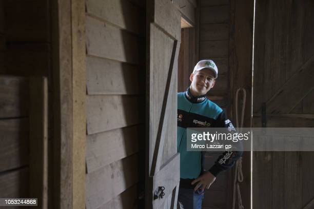 Fabio Quartararo of France and Beta Tools Speed Up Racing smiles during the preevent 'MotoGP Riders visiting the Churchill Farm' during the MotoGP of...