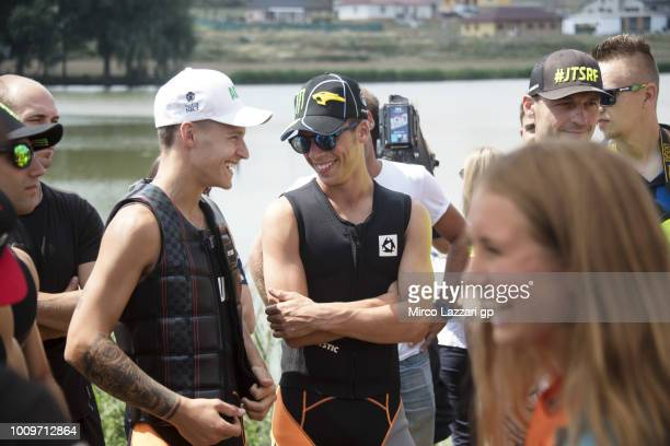 Fabio Quartararo of France and Beta Tools Speed Up Racing speaks with Joan Mir of Spain and EG 00 Marc VDS during the preevent at Auspersky Lake...