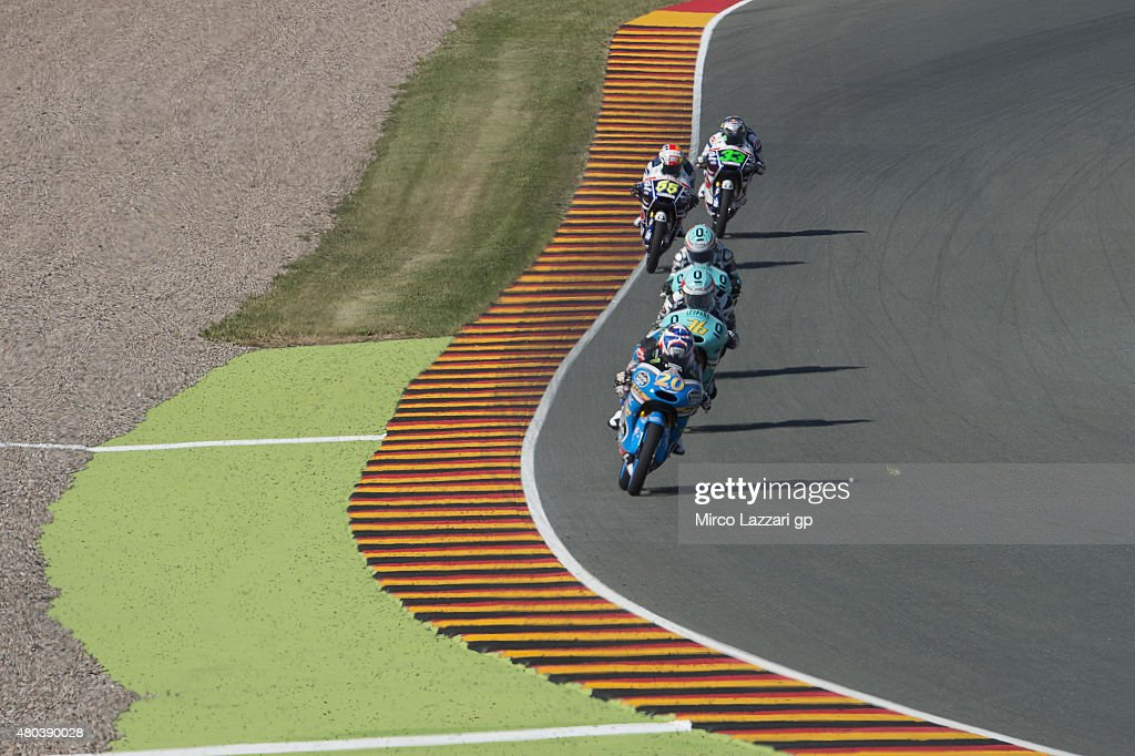 Fabio Quartararo of France and Estrella Galicia 0,0 leads the field during the MotoGp of Germany - Qualifying at Sachsenring Circuit on July 11, 2015 in Hohenstein-Ernstthal, Germany.
