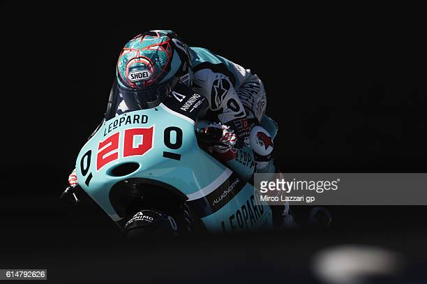 Fabio Quartararo of France and Leopard Racing heads down a straight during the practice during the MotoGP of Japan Qualifying at Twin Ring Motegi on...