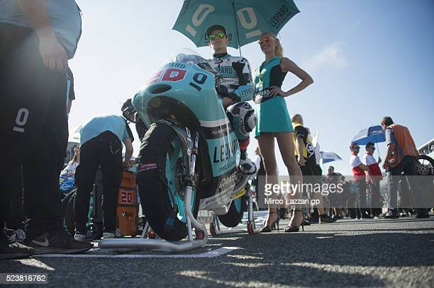 Fabio Quartararo of France and Leopard Racing prepares to start on the grid during the Moto3 race during the MotoGp of Spain Race at Circuito de...
